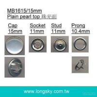 (#MB1615/15mm) Classical Lead free Polyester Pearl Top Metal Prong Snap Button for shirt