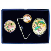 decorative pillbox & compact mirror & purse hanger | cloisonne purse hanger & pill box & compact mirror