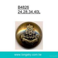 (#B4826/24L, 28L, 34L, 40L) antique brass military decorative coat button