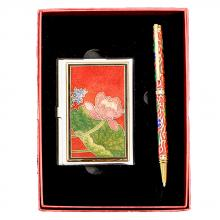 Business card holder set | business pen set | cloisonne business card case & pen set
