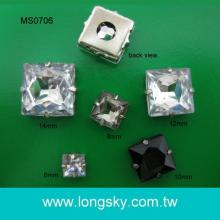(MS0706) Sewing on Square shape acrylic stone with metal Based Button