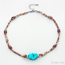 Beading Necklace With Main Turquoise Stone N427