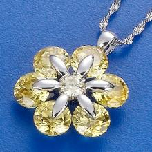 Flower Pendant With Color CZ