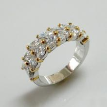 Two Tone Marquise CZ Fashion Jewelry Ring